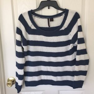 "NWOT; ""heart - n- crush"" navy blue/white sweater"
